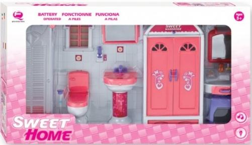 Кукольная ванная комната, Сладкий домик, розовая, QunFengToys 25378Р