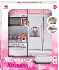 Кукольная кухня Маленькая хозяюшка, розовая, набор №4, QunFengToys 26215Р/R