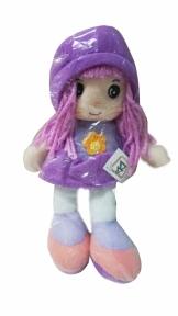Мягконабивная кукла с вышитым лицом фиолетовая, 20 см 31908-1