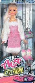 Городской стиль, набор с куклой 28 см, блондинка в розовом платье и белой кофте, Ася 35068