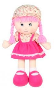 Мягконабивная кукла с косичками (розовая), 36 см 51514-1