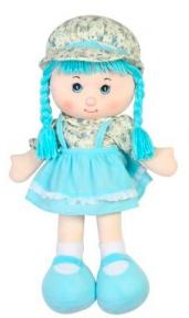 Мягконабивная кукла с косичками (голубая), 36 см 51514-2
