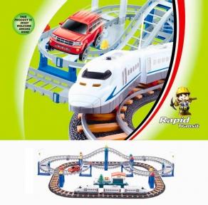 Железная дорога и автострада набор с поездом и машинкой 90 х 58 см LiXin 9916