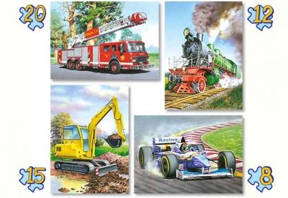 Пазл 4 в 1 Поезд, Боллид, Экскаватор, Пожарная машина 8, 12, 15, 20 эл.
