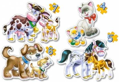 Пазл 4 в 1 Животные с малышами 4 эл, 5 эл, 6 эл, 7 эл. b04096