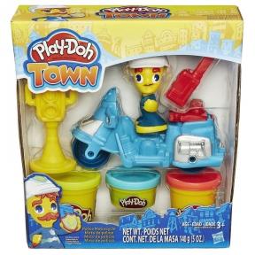 Полицейский мотоцикл - набор с пластилином Play-Doh Town, Play-Doh, синий мотоцикл B5959-1