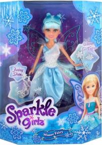 Ледяная фея Эвелин в бело-голубом платье с аксесс. (25 см), Sparkle girlz, Funville, бело-голубое платье FV24015-2