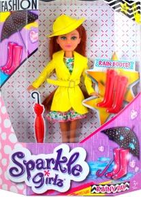 Кукла-модница Ванесса в осеннем желтом плаще (25 см), Sparkle girlz, Funville, желтый FV24075-1