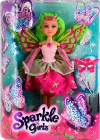 Волшебная фея-бабочка Кейтлин в розово-красном платье (25 см), Sparkle girlz, Funville, зеленые волосы FV24389-3