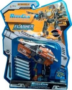 Пистолет-трансформер 2 в 1 FLASHER (6 мягких пуль, блистер), RoboGun K01